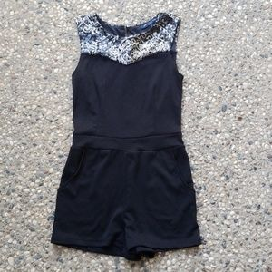Black Sequin High Neck Romper with Pockets
